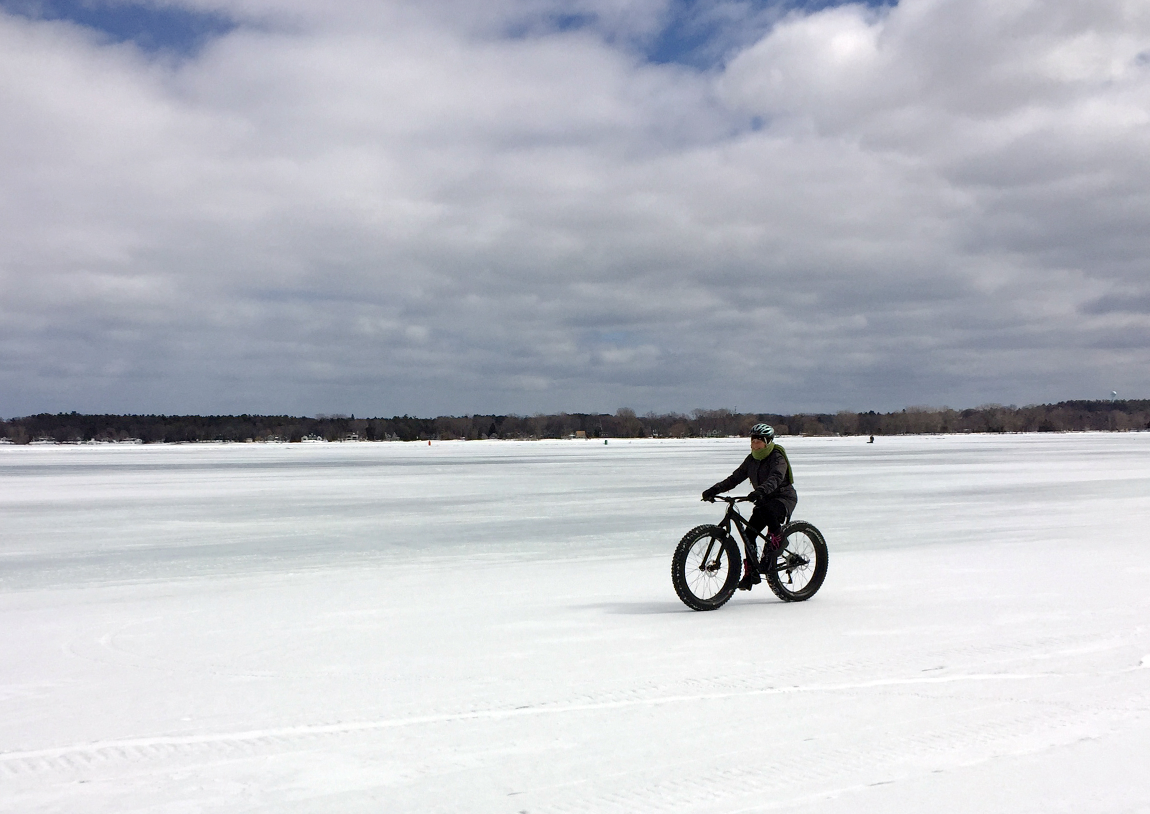 Fat Tire Biking in Door County on the frozen waters of Sturgeon Bay